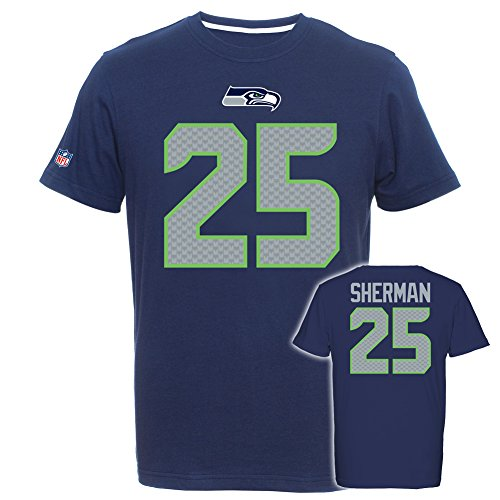 Wilson Authentic Jersey (Majestic NFL RICHARD SHERMAN #25 - Seattle Seahawks Player T-Shirt, Größe:L)