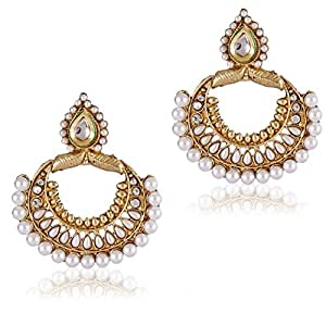 Shining Diva Antique Kundan Pearl Traditional Jewellery Fancy Party Wear Jhumka Earrings for Girls and Women