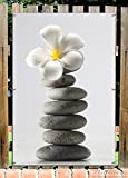 Wallario Garten-Poster Outdoor-Poster - Blume auf gestapelten Steinen in Premiumqualität, Größe: 61 x 91,5 cm, für den Außeneinsatz geeignet