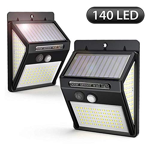 Solarleuchte für Außen, [2 Pack] 140LED Solarlampe Außen 2000mAh mit Bewegungsmelder 270° Beleuchtungswinkel Superhelle Aussen Solarlicht, 3 Modi, Wasserdichte Solarleuchten für Garten