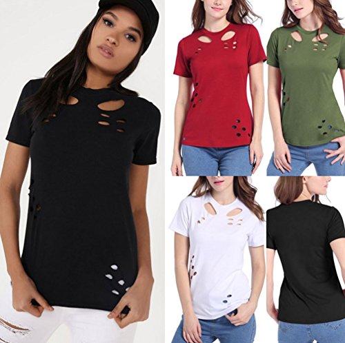 Ghope Damen Sommer Kurzarm T-Shirt Bluse mit Hole Destroyed Slim Oberteil Tops Bluse Shirt Weiß