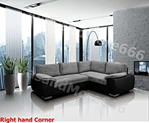 BRAND NEW - ENZO - CORNER SOFA BED WITH STORAGE - JUMBO CORD FABRIC LEATHER - RIGHT HAND SIDE ORIENTATION (GREY AND BLACK)