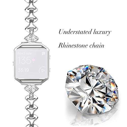 Siswong Ersatz-Edelstahl-Kettenbänder Uhrenarmband Ersatzarmband mit Metallrahmen für Fitbit Blaze Smart Watch mit Metallrahmen Uhrenarmband Herren Damen Stahlband (Silber)