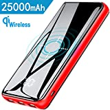 Gnceei Power Bank,Wireless 25000 mAh Portable Charger 2019 Glass Panel type-C High Speed