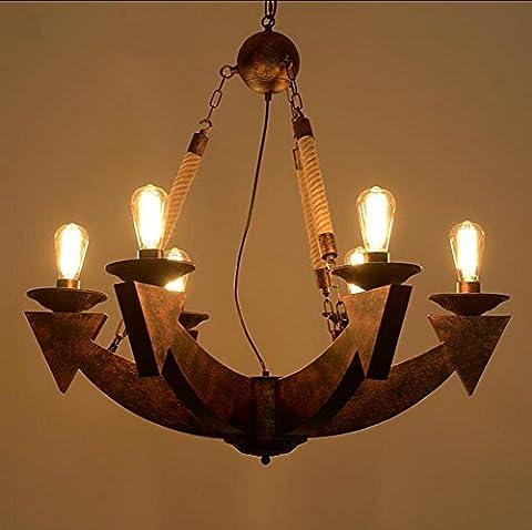 WSND Creative Retro Loft Pendant Light Personality Chanvre Lustres Rope Cafe Bar Salon Retro Iron Industry Pendant Lamp, 220v