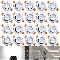 Hengda® 20X Einbauleuchte 3W Deckenleuchten für Wohnbereich Bad geeignet Beleuchtung 210 Lumen Kaltweiß LED Decken Einbaustrahler