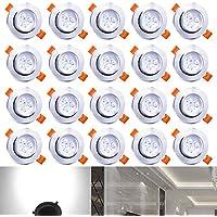 Hengda® 20X Luminarias de techo 3W para salas de estar Apto para baño Iluminación 210 lúmenes Proyector empotrable de techo LED blanco frío Luminaria empotrable