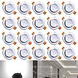 Hengda 3W LED Einbauleuchten 20er Set, AC 230V 3W Einbaustrahler Kaltweiß Beleuchtung LED Einbauspots Stimmungsbeleuchtung Wohnraum Schlafzimmer IP44