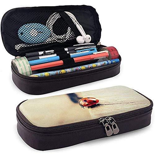PU-Leder-Federmäppchen, Marienkäfer auf Bordstein-Stifthalter, kosmetische Schminktasche, Schreibwaren-Organizer-Bleistiftbeutel
