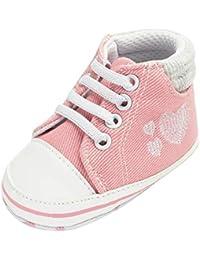 Zapatos Bebe Niño Niña Primeros Pasos Botas de Mezclilla Suave Zapatillas Antideslizante - Impresión del corazón