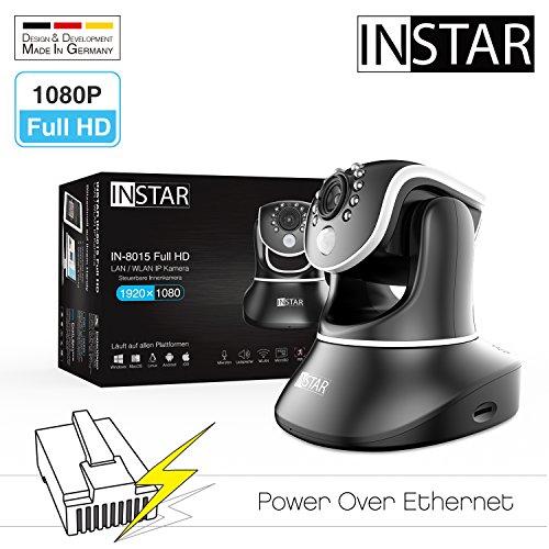 INSTAR IN-8015 Full HD (PoE Version) schwarz / IP Kamera / 1080p / ONVIF / Netzwerk / Überwachungskamera / Videokamera / Sicherheitskamera / LAN / PoE 802.3af / Power Over Ethernet / PIR / WDR / Bewegungserkennung / Infrarot Nachtsicht / Weitwinkel / steuerbar / Mikrofon / Lautsprecher / Baby Monitor / P2P / DDNS (Infrarot Pan)