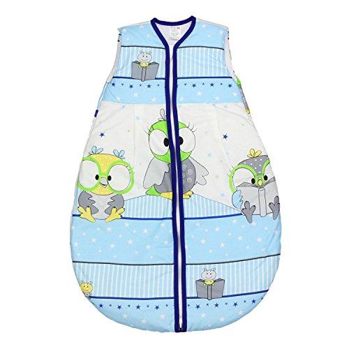 TupTam Babyschlafsack Wattiert Ohne Ärmel ANK002, Farbe: Vögelchen Blau, Größe: 104-110