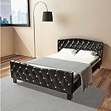 Estructura de cama cuero artificial 140x200 cm negra