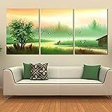 Pingofm Pinturas decoran el paisaje minimalista moderno sofá colgando de la pared pintar agua y montañas dormitorio jardín restaurante con ninguna animación de cuadros Triple pintura decorativa,40*40,25mm,H