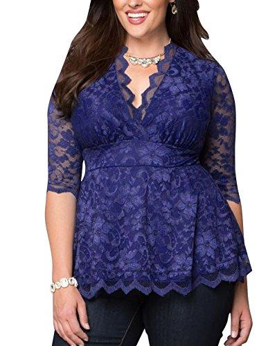 laozan-femmes-blouse-chemise-shirt-top-haut-grande-taille-en-dentelle-kimono-3-4-manches-bleu-xxxx-l