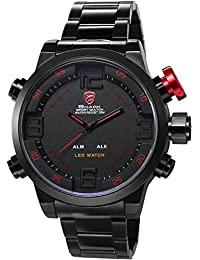 Shark Reloj Deportivo Para Hombre–pulsera negro en acero inoxidable–Reloj impermeable negro