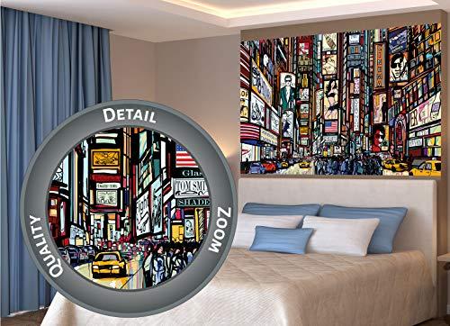 GREAT ART XXL Poster - Broadway - New York im Comic Style Wandbild Wanddekoration City Skyline Sightseeing Künstler Kunst Illustration Motiv Megastadt Dekoration (140 x 100 cm)