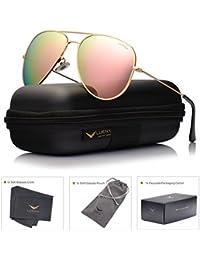 LUENX Homme Lunettes de Soleil Aviator Polarisé Avec Étui - UV 400 Protection Miroir Poids Léger Lunettes Métal Monture 60mm