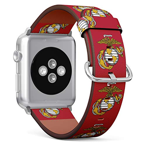 R-Rong kompatibel Watch Armband, Echtes Leder Uhrenarmband f¨¹r Apple Watch Series 4/3/2/1 Sport Edition 42/44mm - USMC Marine Corp Eagle, Globe, and Anchor Symbol -