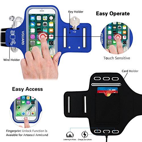 VGUARD Fascia Da Braccio Sportiva Universale 6.2 Resistente allAcqua Sweatproof Bracciale per Corsa & Esercizi con Cinturino Regolabile, Portachiavi, Porta Scheda e Riflettente Armband per Smartpho Blu Scuro