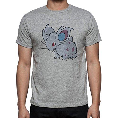 Pokemon Nidoran Poison Ground Cartoon Herren T-Shirt Grau