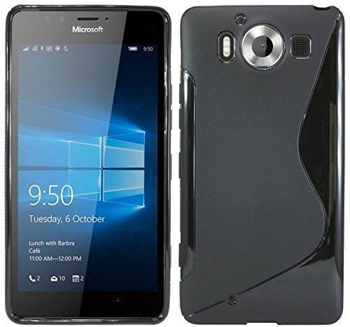ENERGMiX Silikon Hülle kompatibel mit Microsoft Lumia 950 Schutzhülle Case Cover Gel in Schwarz