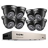 ZOSI CCTV 8CH 720P HD TVI DVR Videoüberwachung System 8 Kanal HDMI Recorder mit 8 Dome Außen 720p Überwachungskamera Set ohne HDD, 20M IR Nachtsicht