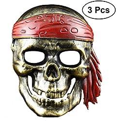 Máscara de pirata para Halloween, 3 ud.