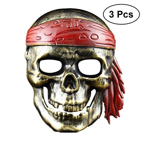 Skelett Spooky Kostüm - LUOEM Halloween Piraten Dekorationen Piraten Kostüm Skelett Party Maske Kapitän Spooky Masken Piraten Zubehör für Halloween, 3er Pack (Golden)