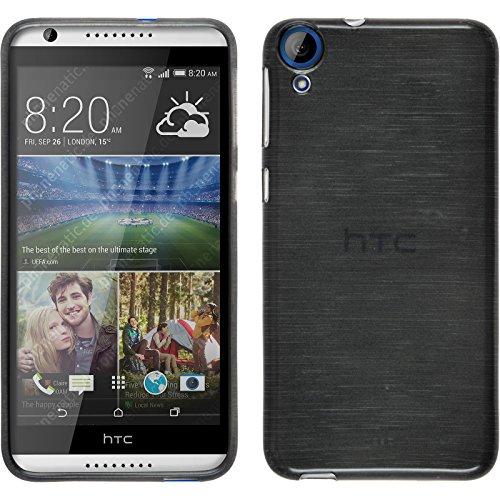 PhoneNatic HTC Desire 820 Hülle Silikon silber brushed Case Desire 820 Tasche + 2 Schutzfolien