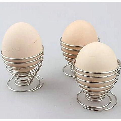 Efbock Bandeja de alambre de primavera de acero inoxidable huevo hervido huevos titular 2pcs