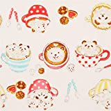 Kokka Cremefarbenes Oxfordgewebe mit Pandas Kaffeetassen