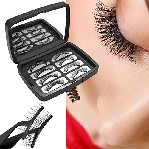 Magnetische Wimpern, Verbesserte 3D Künstliche Magnetische Wimpern, 3 Magnete, Wiederverwendbare Falsche Magnetic Eyelashes (Black)