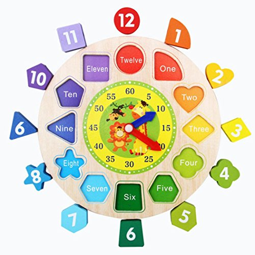 Novelty Wooden Time Learning Clock, friendGG Digital Geometry Shape Sorting Puzzle Clock DIY Gift for Toddlers Baby Kids Wisdom Development Educational Toy (22.5 * 22.5CM, Shown as The Pictures)