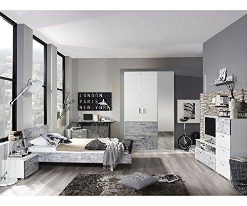 A0336.70T4.20 Sumatra Weiß / Vintage grau Jugendbett Futonbett Gästebett Bett…