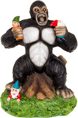 Solar Powered Gorilla Rasen Gnome - Licht bis Garten Statue von greenlighting (Gorilla-batterie)