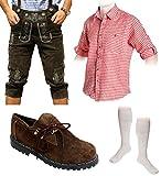 Herren Trachten Set B 5-teilig Trachten Lederhose dunkelbraun 46-60 Trachtenhemd Schuhe Socken (Wählbar Hose 46-60 Hemd S-XXXL Schuhe/Socken 41-46)