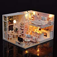 Blusea DIY Miniature Loft Dollhouse Kit Realistic Mini 3D Pink Wooden House Room Toy with Furniture LED Lights Christmas Children