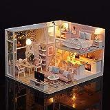 Blusea Häuser für Minipuppen,DIY Miniatur Loft Puppenhaus Kit Realistische Mini 3D Rosa Holzhaus Zimmer Spielzeug mit Led-leuchten Staubschutz Spieluhr