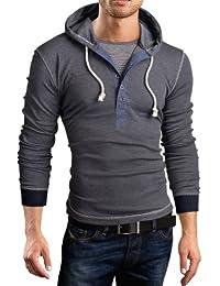Grin&Bear Slim Fit sweat shirt, pull à capuche, 2 in 1 henley, BH131, BH130