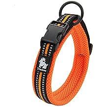 Kaka mall - Collar para perro clásico acolchado, ajustable y reflectante, con anillo de aleación, para perro pequeño mediano o grande