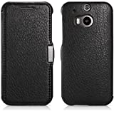 Luxus Tasche für HTC one M8 / M8S / Case Außenseite aus Echt-Leder / Innenseite aus Textil / Modell: Business / Schutz-Hülle seitlich aufklappbar / ultra-slim Cover / Farbe: Schwarz