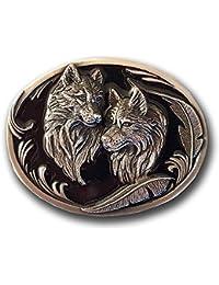 bac2fdc3ab8 Boucle de ceinturon Motif loups avec plumes Thème western Indiens +  pochette cadeau