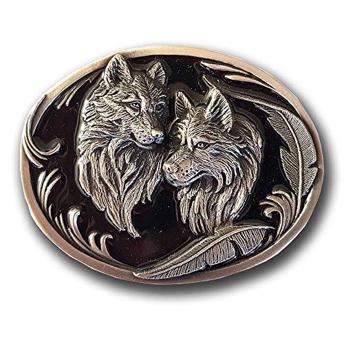 Life Art Buckle Gürtelschnalle Wölfe mit Federn schwarzer Hintergrund Hochwertig von Siskiyou Western Wolf Indianer + Geschenksäckchen
