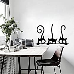 Pegatinas Tres gatitos Gatos vinilo pared decorativo para pared Imagen Frigorífico pared Tatuajes de papel pintado para niños Baby Room Home Decor Decoración