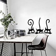 Idea Regalo - Di Tre gattini gatti Adesivo da parete in vinile murale frigorifero Stickers murali arte carta da parati per bambini Baby Room Home Decor Decorazione
