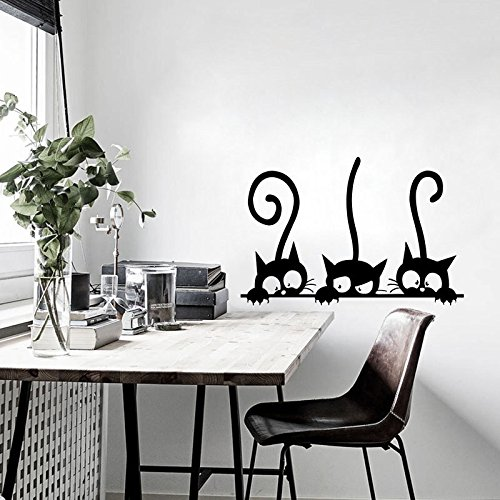 Aufkleber Drei Kätzchen Katzen Vinyl Wandaufkleber Wandbild Kühlschrank Wandtattoos Kunst Tapete für Kinder Baby Room Home Decor Dekoration