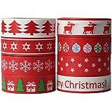 UOOOM 8 rouleaux Washi Tape Noël Ruban Adhésif Papier Décoratif Masking tape Scrapbooking DIY Christmas Noël Tape (Design 9050)