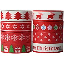 UOOOM 8 Rolls Beautiful Washi Tape Christmas deko klebeband buntes Klebebänder Masking Tape DIY scrapbook deko (Design 9050)