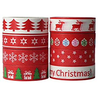 8x Washi Tape Navidad Christmas Cintas Decorativas DIY 15mm x 10m